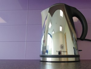 Purple brilliant cut glass splashback